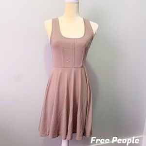 Free People Spotted Cream Light Brown Dress